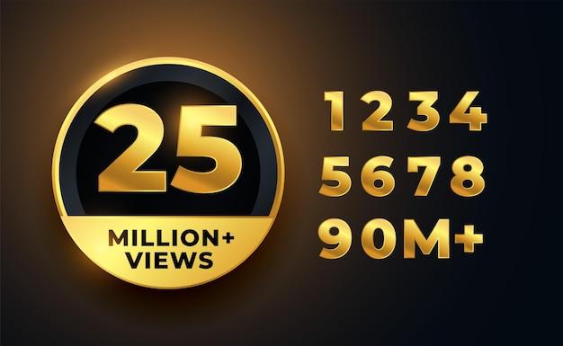 25 milhões de visualizações no rótulo dourado do vídeo
