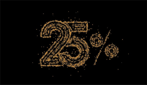 25% off banner de desconto na venda de partículas. desconto na etiqueta de preço da oferta. ilustração vetorial.