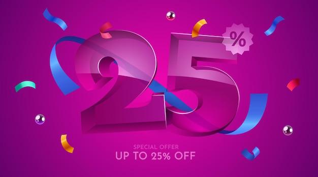 25 por cento de desconto na composição criativa mega símbolo de venda
