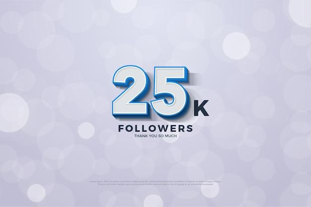25k seguidores com ilustração de números 3d aparecendo no fundo