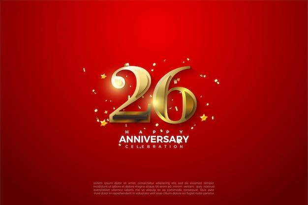 26º aniversário em luxuosos algarismos dourados