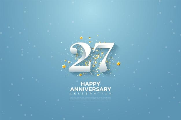 27º aniversário com ilustração de números no céu azul.