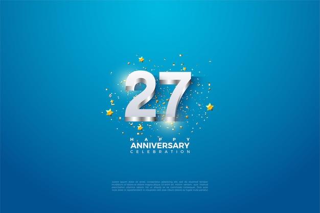 27º aniversário com números 3d em relevo em prata.