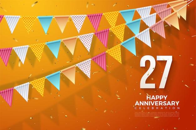 27º aniversário com números e ilustração de bandeiras coloridas.