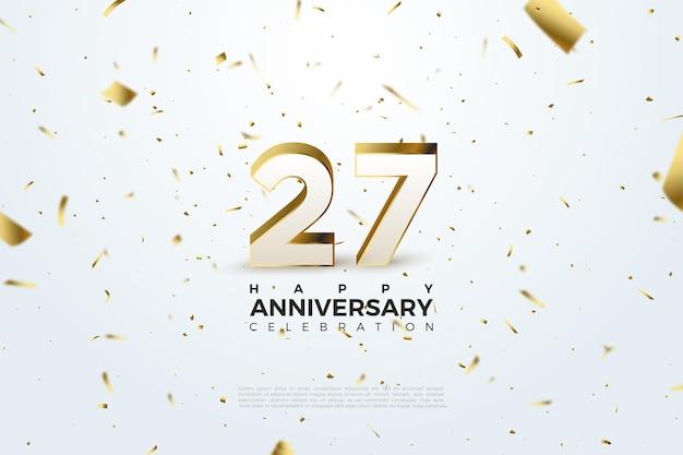 27º aniversário com números espalhados e ilustração em folha de ouro.