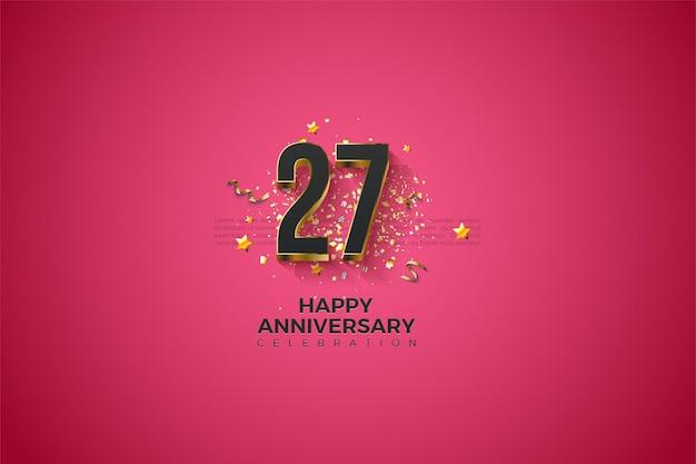 27º aniversário com números sobrepostos a ouro.