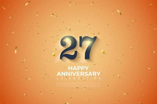 27º aniversário com números sombreados em branco suave.