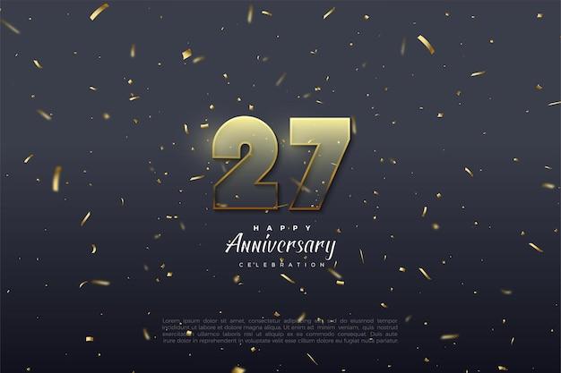 27º aniversário com números transparentes listrados com bordas marrom dourado.