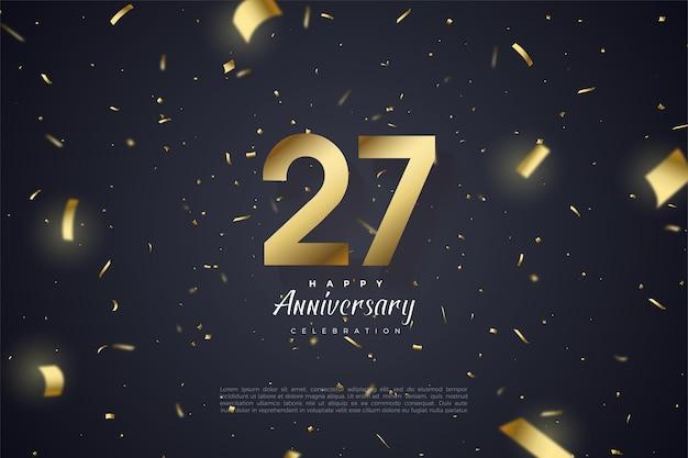 27º aniversário com papel dourado espalhado e ilustração de números.