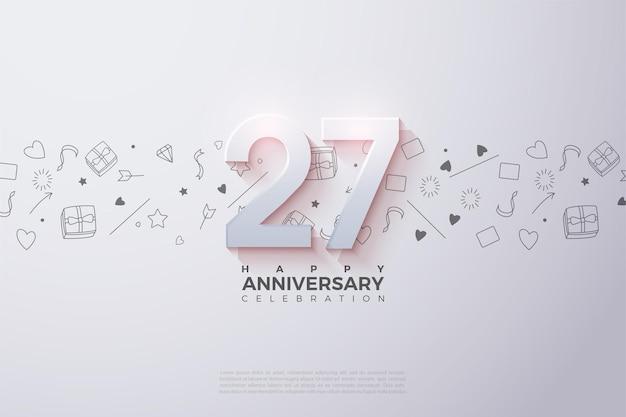 27º aniversário com um número desbotado na parte superior.