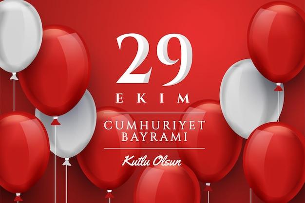 29 ekim com balões realistas Vetor Premium
