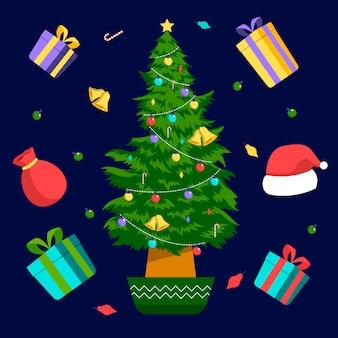 2d árvore de natal com presentes