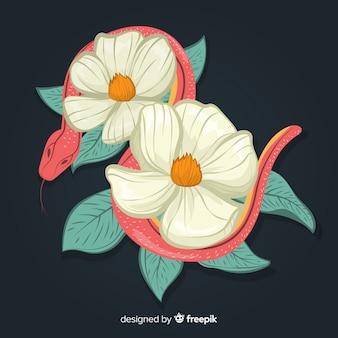 2d cobra com flores