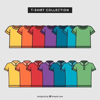 2d coleção de t-shirt colorida com estilo mão desenhada