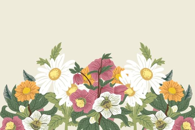 2d fundo de flores vintage