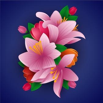 2d gradiente estilo papel flores