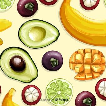 2d padrão de frutas tropicais