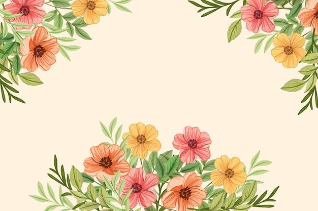 2d vintage flores papel de parede