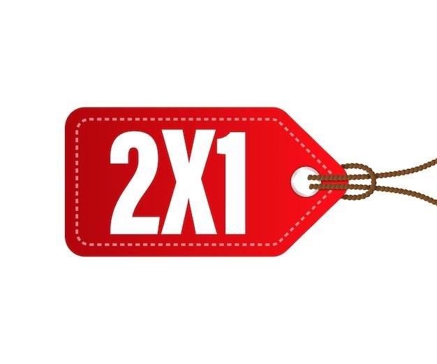 2x1 etiqueta comercial vermelha de metade do preço isolada