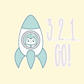3, 2, 1 vai lettering com gato engraçado astronauta