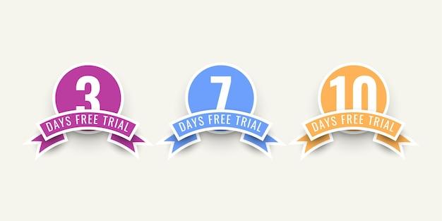 3 7 10 dias de design de modelo de ilustração de teste gratuito