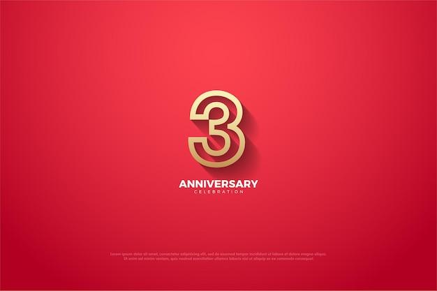 3º aniversário com contorno numérico