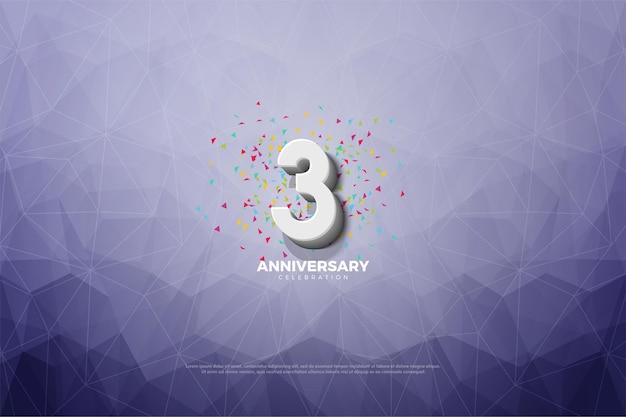 3º aniversário com cristalizado