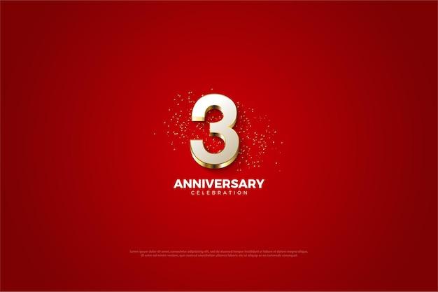 3º aniversário com numeral dourado luxuoso