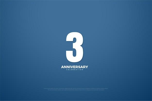 3º aniversário com número clássico