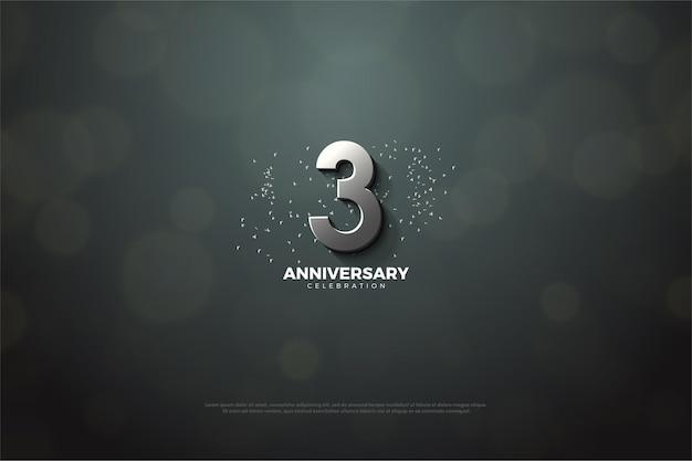 3º aniversário com número de prata 3d