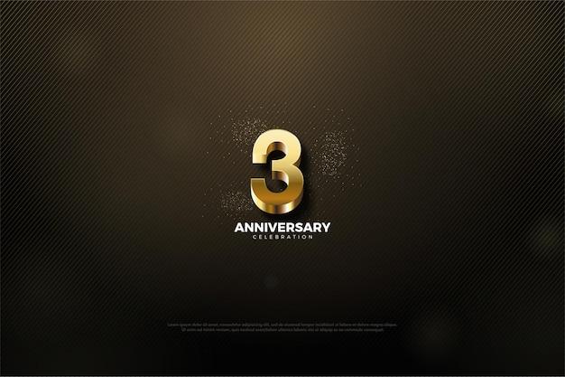 3º aniversário com número dourado brilhante