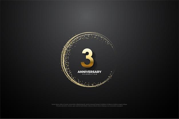 3º aniversário com número dourado