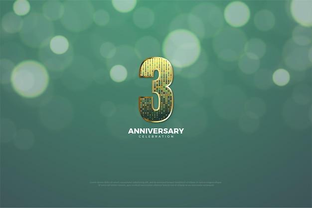 3º aniversário com número glitter