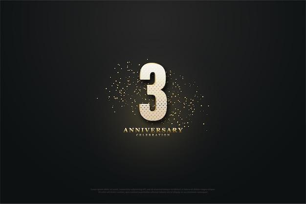 3º aniversário com número luminoso