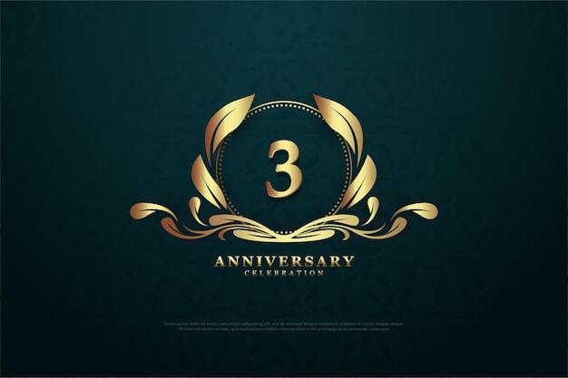3º aniversário com um número no quadro do meio