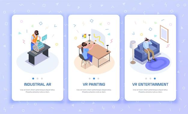 3 banners verticais isométricos de realidade aumentada virtual com experiência industrial vr pintura entretenimento