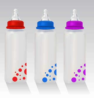 3 biberões realistas, vermelho, azul e violeta, biberões coloridos realistas