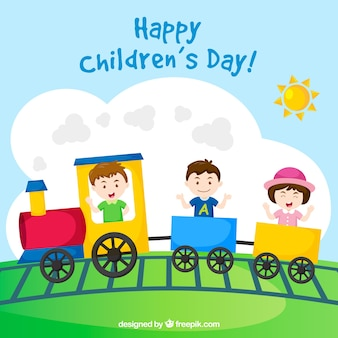 3 crianças em um trem