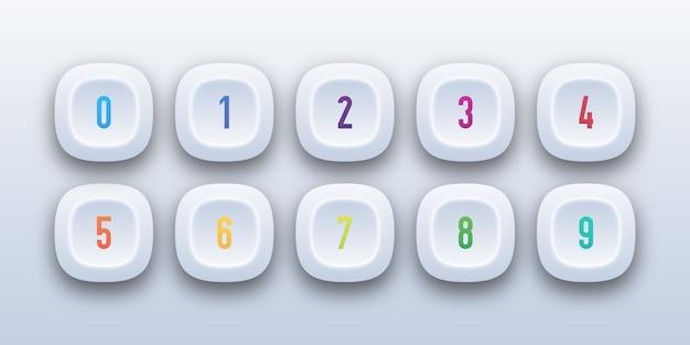 3 d botão ícone definido com número de marcador