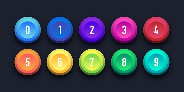 3 d colorido ícone definido com número de ponto de bala