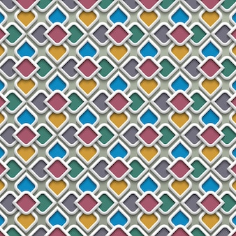 3 d colorido padrão sem emenda no estilo islâmico