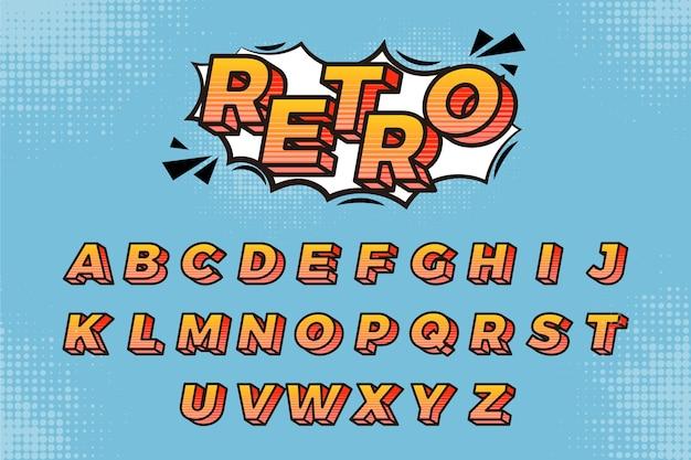 3 d conceito alfabético em quadrinhos
