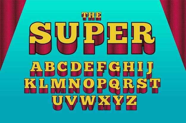 3 d estilo alfabético em quadrinhos
