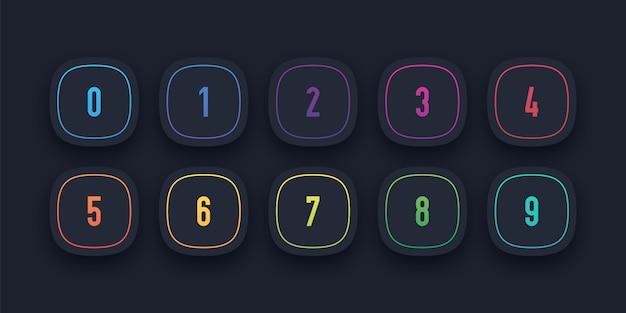 3 d ícone definido com ponto de bala número de 1 a 10