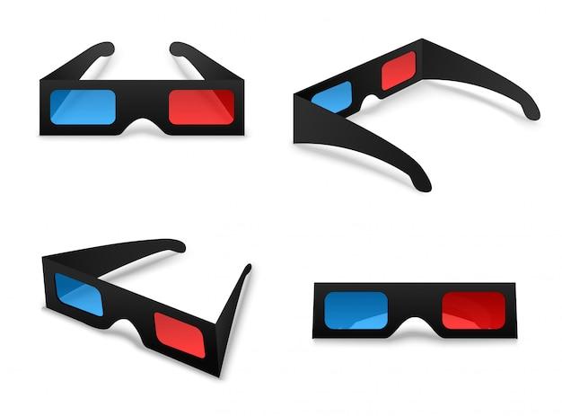 3 d óculos isolado coleção definida em branco
