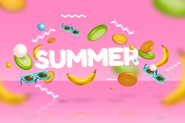 3 d verão bananas e óculos de sol