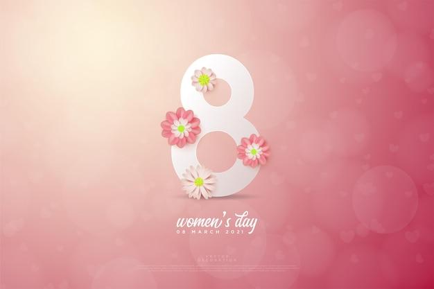 3 de março com números brancos e flores sobre fundo de bokeh.