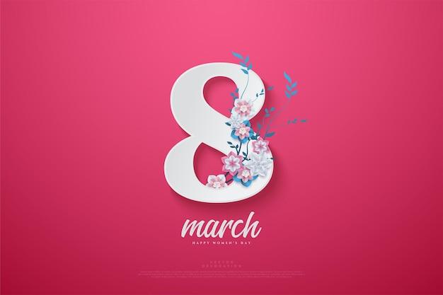 3 de março com números brancos e flores sobre fundo vermelho.