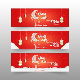 3 diferentes modelos de oferta de 50% de desconto no ramadan sale banner