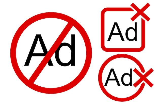 3 estilos, vetor de sinal proibido, sem anúncio